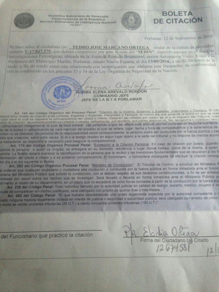 Citación del Pedro Marcano. (Foto: Cortesía).