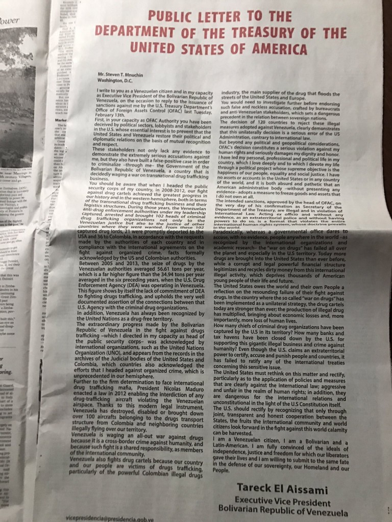 Carta de página entera enviada por el vicepresidente de Venezuela, Tareck El Aissami, al Departamento del Tesoro por acusaciones de narcotráfico en su contra. (Foto: La Patilla).