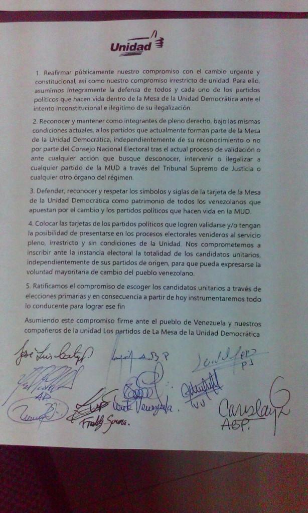 Acuerdo de la Unidad plasmado en un documento que firmaron todas las organizaciones políticas que se concentran en la alianza opositora. (Foto: Andrés Fornerino).