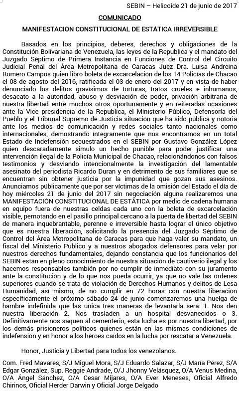 cOMUNICADO POLICHACAO SEBIN