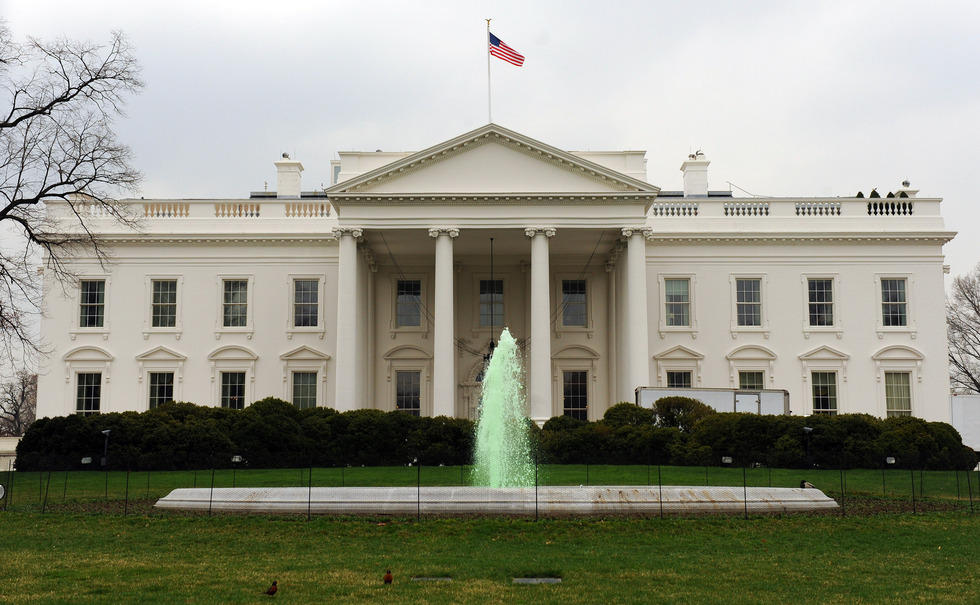 The fountain on the North Lawn of the White House runs green in honor of St. Patrick's Day in Washington on March 17, 2009.